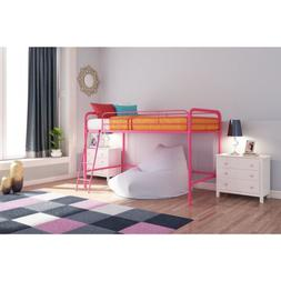 Solid Pink Metal Junior Loft Bed Frame Twin Size Bunk Girls