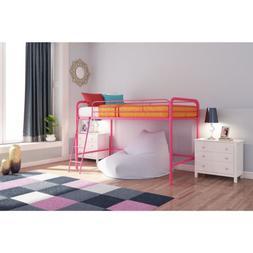 Solid Pink Metal Junior Loft Bed Frame Twin Size Bunk Girls