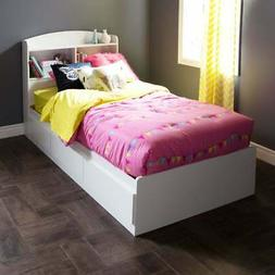 South Shore 10055 Logik Twin Mates Bed  with 3 Drawers, Pure