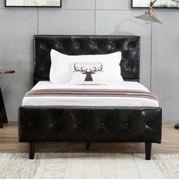 Twin Size PU Leather Bed Frame Button Tufted Upholstered Met