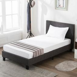 Twin Size Platform Bed Frame Upholstered Gray Linen Headboar