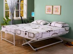 Twin Size Steel Day Bed  Frame with Pop Up Trundle & Mattres