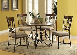 ACME Barrie Dining Table in Faux Marble in Cherry Oak & Dark