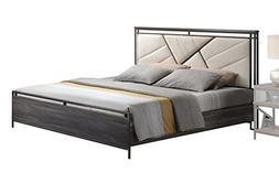Acme Furniture Adrianna 20950Q Queen Bed, Cream Cotton Fabri