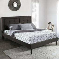 Adustable Headboard Tufted Upholstered Button Platform Bed F