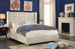 Meridian Furniture AidenCream-K Aiden Velvet Upholstered But
