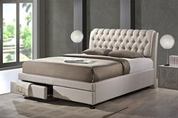 Baxton Studio Ainge Contemporary Button-Tufted Fabric Uphols