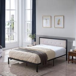 Alma Queen-Size Iron Bed Frame, Upholstered Headboard, Moder