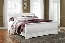 Anarena Traditional White Color King Sleigh Bed