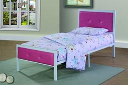 Furniture World Anne Metal Upholstered Bed with Tufted Accen