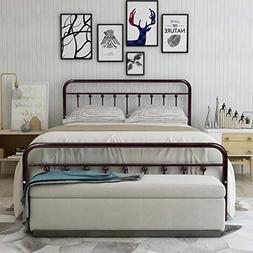 HOMERECOMMEND Metal Bed Frame Queen Size Steel Slats Platfor