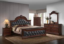 Kings Brand Antique Brown King Size Upholstered Bed Bedroom