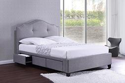 Baxton Studio Armeena Linen Modern Storage Bed with Upholste