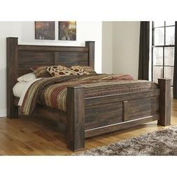 Ashley Quinden Wood King Poster Panel Bed in Dark Brown