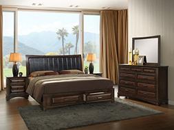 Roundhill Furniture B179KDMN2 Broval 179 Light Espresso Fini