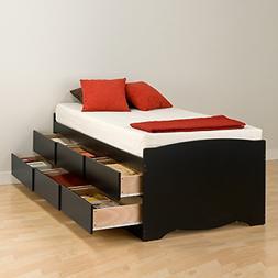 Prepac BBT-4106 Tall Twin Sonoma Platform Storage Bed with 6