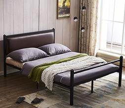 Green Forest Bed Frame Full Size PU Leather Classic Headboar