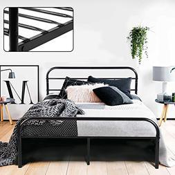 GreenForest Full Bed Frame Metal Platform Mattress Base Blac