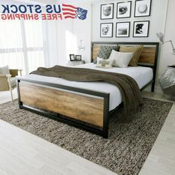 Bed Frame Metal Platform w/Rustic Wood Headboard  & Footboar