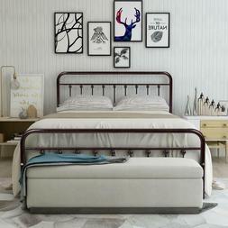 Alment Bed Frame Platform Headboard Footboard Bedroom Black