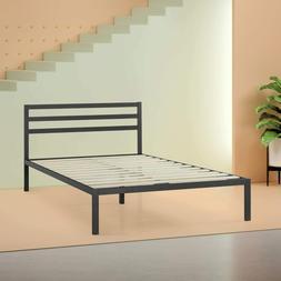"""Bed Frame with Headboard Metal 38"""" Black Platform Furniture"""
