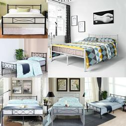 Bedroom Metal Bed Frame Platform Base Mattress Foundation Tw