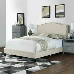 Beige King Size Platform Bed Frame w/ Nailhead Trim Headboar