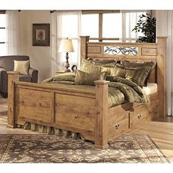 Ashley Bittersweet Wood Queen Drawer Panel Bed in Light Brow