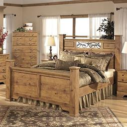 Ashley Bittersweet Wood Queen Poster Panel Bed in Light Brow