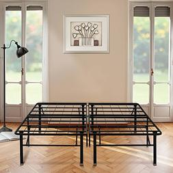 Black Bed Frame, High Profile Platform Metal Base Foundation