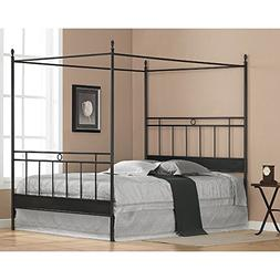 Black Metal Queen-size Canopy Bed. The Frame Has Horizontal