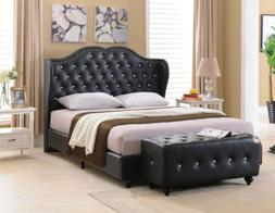 Kings Brand Furniture Black Tufted Design Faux Leather King