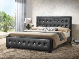 Black - Queen Size - Modern Headboard Tufted Design Leather