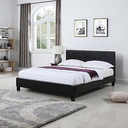 Bonded Leather Low Profile Platform Bed Frame w/ Paneled Hea