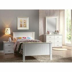Acme Furniture Bungalow Platform Bed, White, Twin