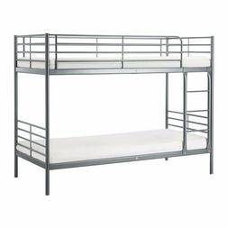 Bunk bed frame, silver color, twin over twin ladder for kids