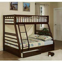 Bunk Beds Kids Twin Over Bed Frame Full Wooden 2 Storage Dra