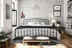 Novogratz Bushwick Metal Bed, Modern Design, King Size - Gre