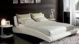 Zuri Furniture Cadillac Cal King White Leather Platform Bed