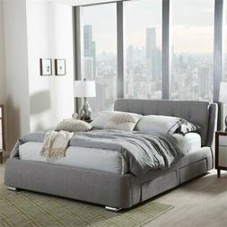 Baxton Studio Camile Queen Storage Platform Bed in Gray