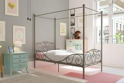 Canopy Bed Frame Metal Four Post Heart Scroll Headboard Foot