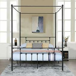 VECELO Canopy Bed Frame Metal Platform Mattress Foundation/B