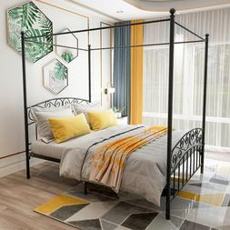 Canopy Bed Frame with Sturdy Metal Platform No Box Spring Ne
