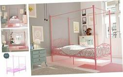 Canopy Bed with Sturdy Bed Frame, Metal, Twin Size - Pink
