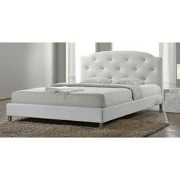 Baxton Studio Canterbury Leather Contemporary Bed, Queen, Wh