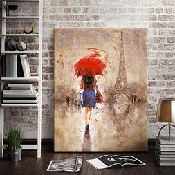 "Canvas Print Wall Art- 24x36 "" Large Size ""Red Umbrella Walk"