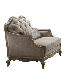 ACME Chelmsford Beige Fabric Chair with 1 Pillow