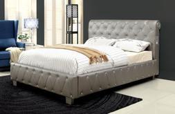 Furniture of America Chloe Acrylic Tufted Leatherette Platfo