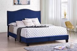 Kings Brand Furniture Clarno Blue Velvet Nailhead Queen Size
