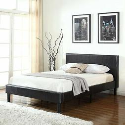 Classic Deluxe Bonded Leather Low Profile Platform Bed Frame